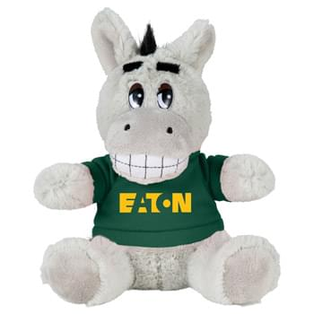 "6"" Plush Donkey with Shirt - Soft, huggable plush animal makes a great gift and is a cool way to promote your brand. Choose a colorful t-shirt to display your message."
