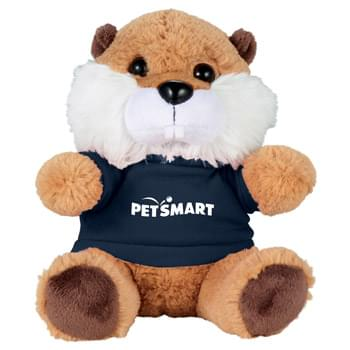 "6"" Beaver Plush Animal with Shirt - Soft, huggable plush animal makes a great gift and is a cool way to promote your brand. Choose a colorful t shirt to display your message."