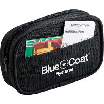 Personal Comfort Travel Kit - Zippered pouch  with open-top front pocket. Includes 2 soft foam earplugs, black eye mask and inflatable soft-touch neck pillow.