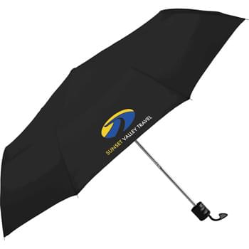 "Pensacola 41"" Folding Umbrella - Manual opening. 41"" arc. Polyester canopy. Three-section folding metal shaft. Ergonomic matte black plastic handle with wrist strap. Folds to only 9-1/2"" long."