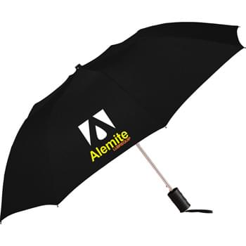 "Miami 42"" Auto Folding Umbrella - Automatic opening. 42"" arc.Pongee canopy. Two-section folding metal shaft. Ergonomic matte black plastic handle with wrist strap. Folds to 16"" long."