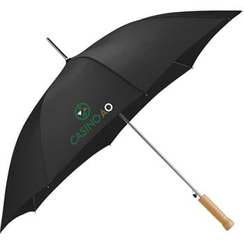 "Nola 48"" Steel Fashion Umbrella - Automatic opening. 48"" arc. Sturdy metal shaft with matching ferrule & tips. Large wooden handle. Metal shaft and frame."