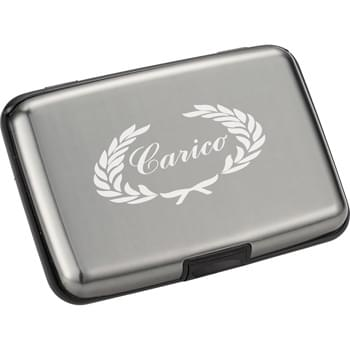 Discovery Aluminum Card Case - Business card holder contains 6 file pockets to store 12 credit cards. Snap closure.