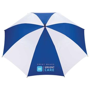 "58"" Vented Golf Umbrella - 58"" full size golf umbrella, half vented full fiberglass construction on shaft and ribs for added durability.  Color match handle, shaft, and ribs.  Shaft length is 38"".  Available for one-day turn with Sureship®"