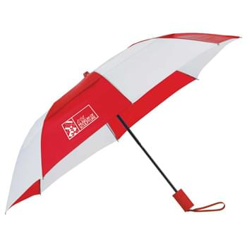 "42"" Vented, Folding Umbrella - 42"" arc vented folding umbrella. Automatic opening.  Polyester canopy with color matching handle.  Vented canopy design lets wind pass through without damaging the umbrella.  Folds to 16"" when closed.  Available for one-day turn with Sureship®"