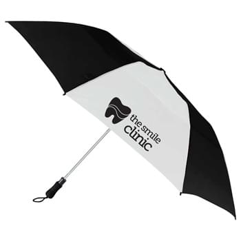"55"" Vented, Folding Golf Umbrella - 55"" arc vented golf umbrella. Automatic opening. Metal shaft with partial fiberglass ribs for added durability, and a windproof vented canopy design.  Color matching comfortable foam handle and carry pouch.  Folds to 22"" when closed.  Available for one-da"