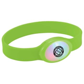Flash Multi-Color LED Bracelet - CLOSEOUT! Please call to confirm inventory available prior to placing your order!<br />Silicone bracelet with multi-color flashing LED light.