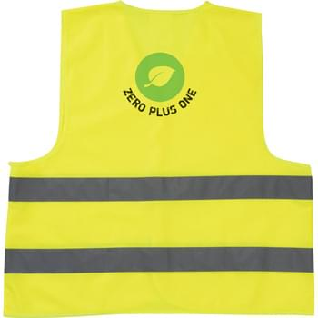 The Safety Vest - Neon yellow safety vest with reflective stripes.