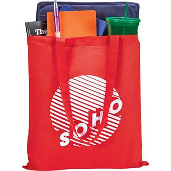 "100% Cotton Tote - Slim design perfect for conventions and tradeshows. Open main cotton compartment with double 29"" reinforced handles. Reusable and a great alternative to plastic bags."